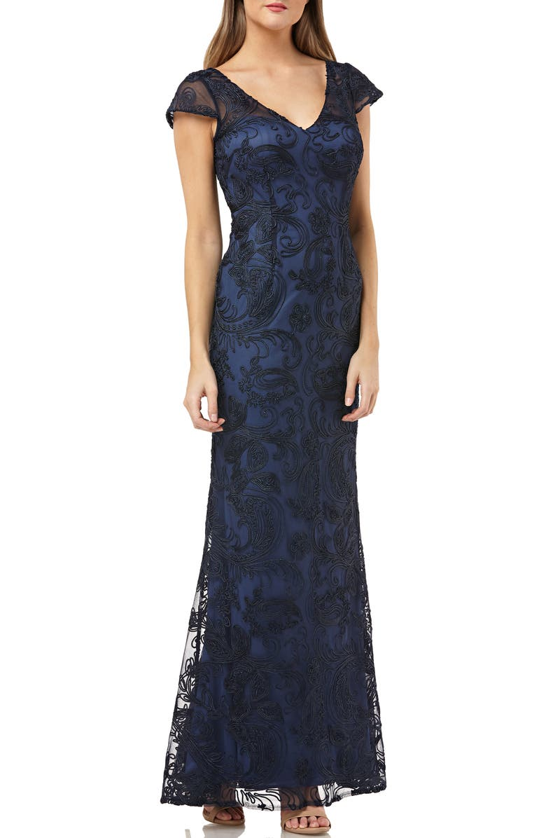 JS COLLECTIONS Soutache Embroidered V-Neck Trumpet Gown, Main, color, NAVY