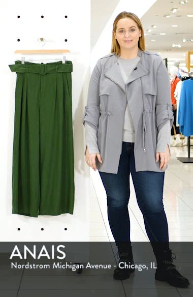Belted Wide Leg Linen Blend Pants, sales video thumbnail