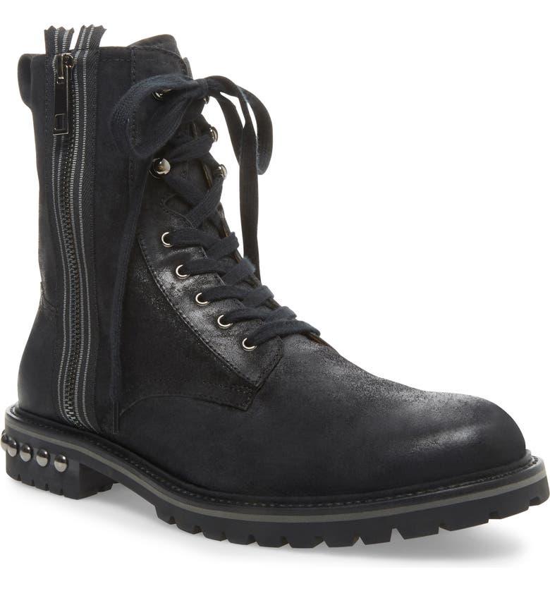 STEVE MADDEN Zuko Plain Toe Boot, Main, color, BLACK LEATHER