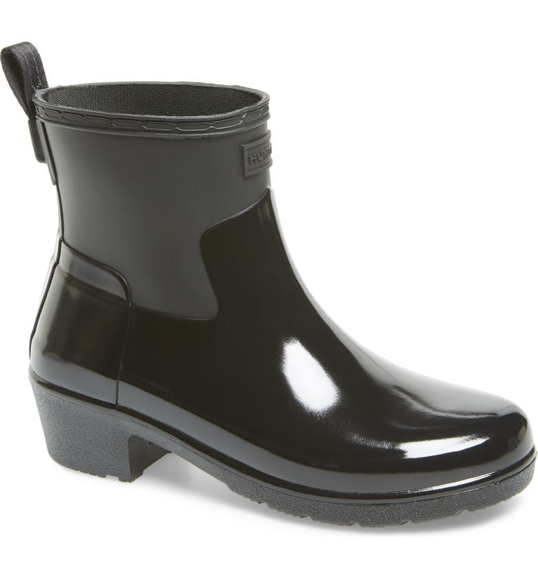 HUNTER Original Refined Mixed Finish Waterproof Rain Boot, Main, color, BLACK