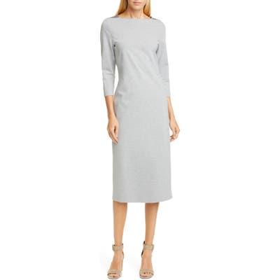 Fabiana Filippi Brilliant Bead Shoulder Midi Sheath Dress, US / 42 IT - Grey