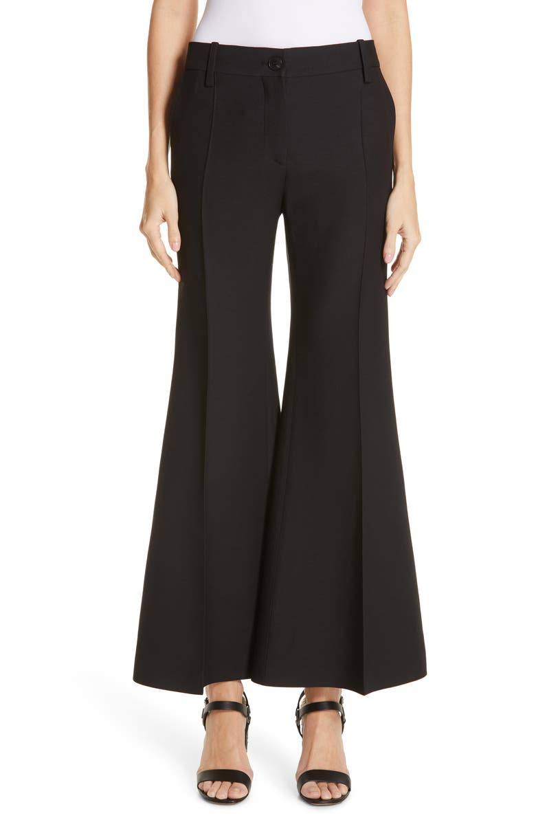VALENTINO Crepe Couture Crop Flare Pants, Main, color, 001