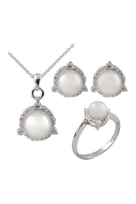 Image of Splendid Pearls 7-8mm Cultured Freshwater Pearl Necklace, Stud Earrings, & Ring Set