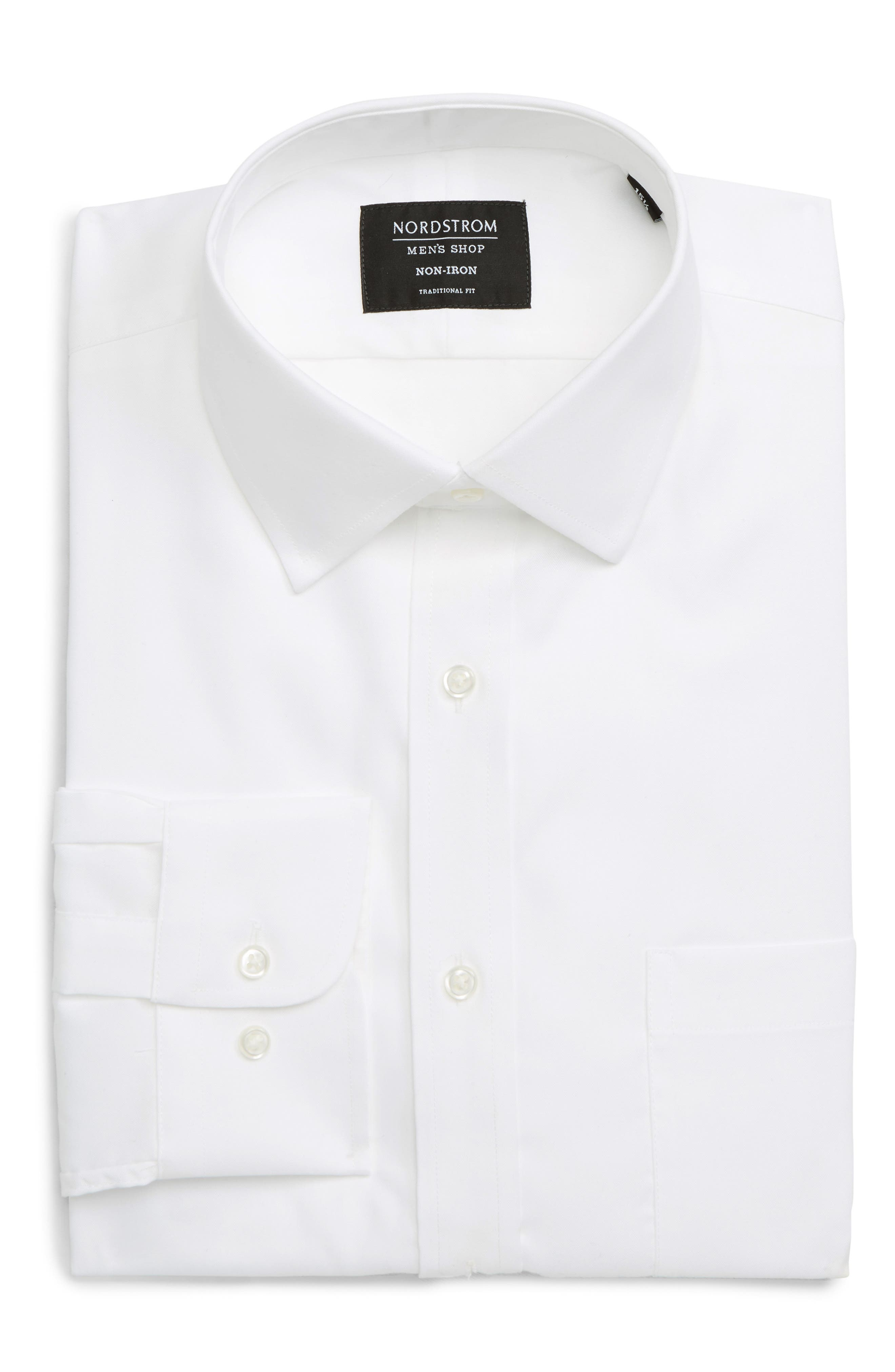 Signature wrinkle-resistant Supima cotton keeps you looking crisp and neat all day in a dress shirt tailored for versatility from solid twill. Style Name: Nordstrom Mens Shop Traditional Fit Non-Iron Dress Shirt. Style Number: 1083690. Available in stores.