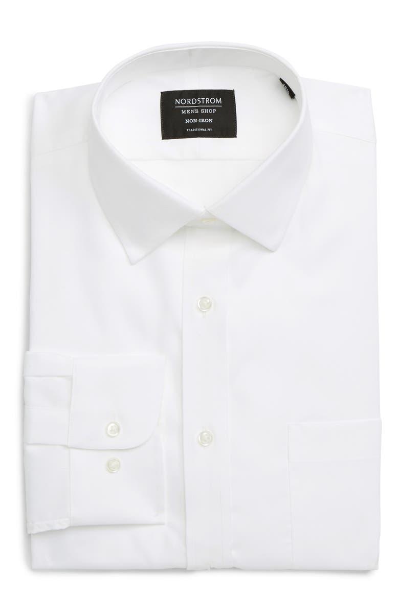 NORDSTROM MEN'S SHOP Nordstrom Mens Shop Traditional Fit Non-Iron Dress Shirt, Main, color, WHITE BRILLIANT