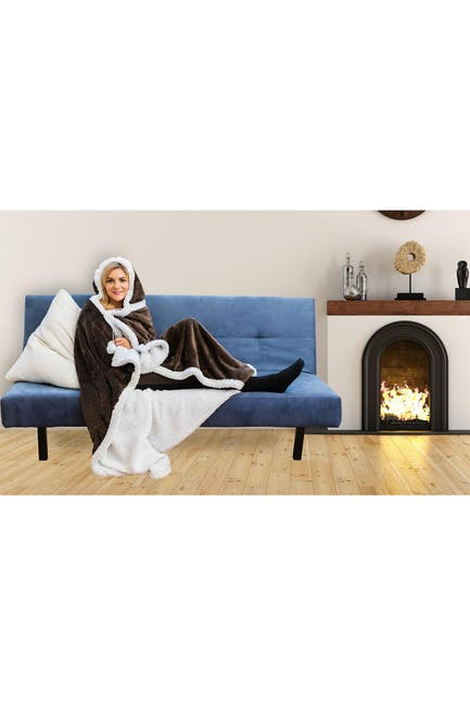 Image of Duck River Textile Solid Hooded Reversible Throw Blanket with Side Pockets - Chocolate