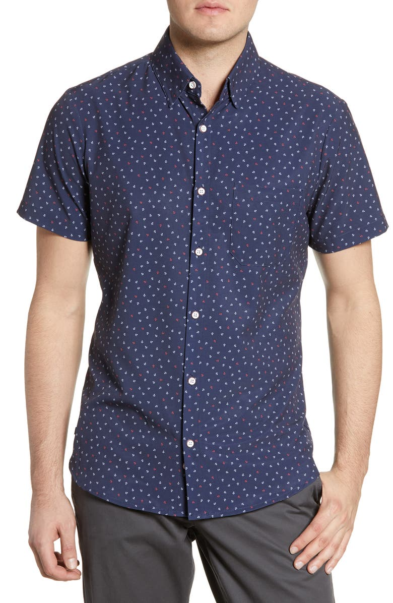 MIZZEN+MAIN McNeal Trim Fit Anchor Print Performance Shirt, Main, color, NAVY