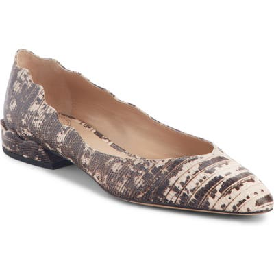 Chloe Laurena Snake Embossed Scalloped Flat - Grey