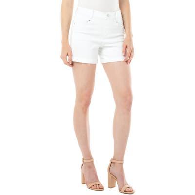 Liverpool Gia Glider High Waist Roll Cuff Shorts, White