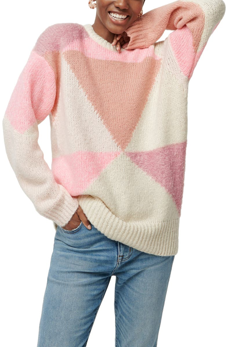J.CREW Colorblock Oversize Crewneck Sweater, Main, color, NATURAL GUAVA PEONY