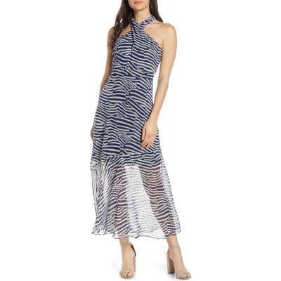Sam Edelman Patchwork Stripe Print Chiffon Halter Midi Dress, Blue