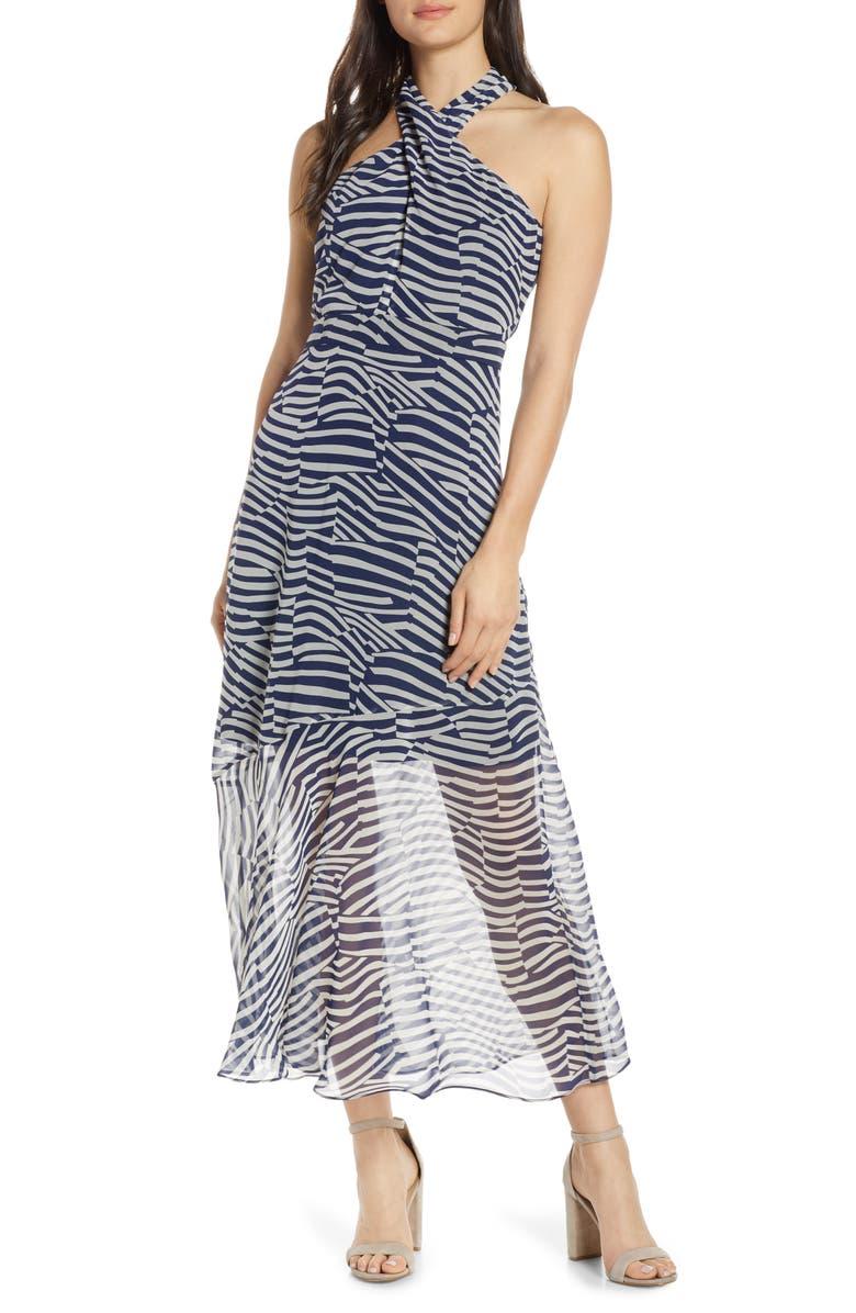 SAM EDELMAN Patchwork Stripe Print Chiffon Halter Midi Dress, Main, color, NAVY/ IVORY