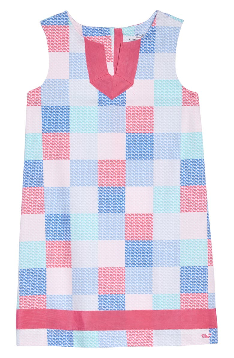 VINEYARD VINES Whale Diamond Patchwork Shift Dress, Main, color, WHITE CAP