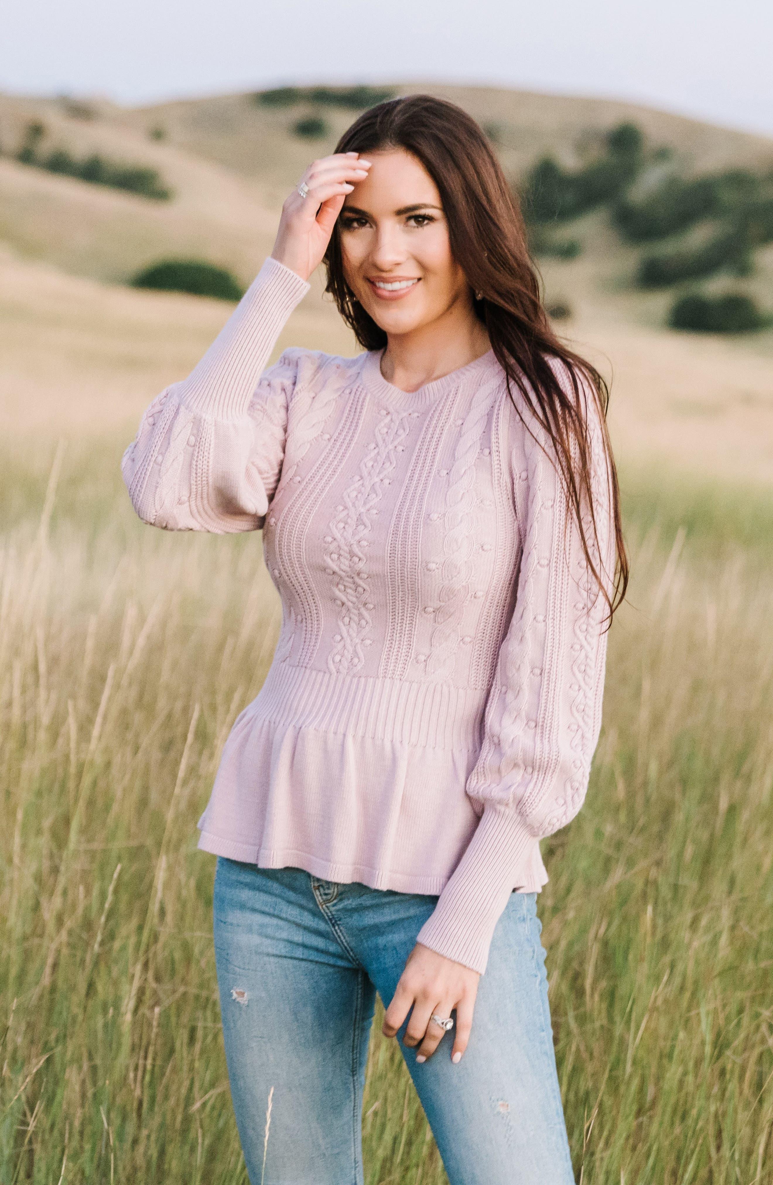 Edwardian Blouses   White & Black Lace Blouses & Sweaters Womens Rachel Parcell Cable Bobble Peplum Cotton Blend Sweater Size Small - Pink Nordstrom Exclusive $85.00 AT vintagedancer.com