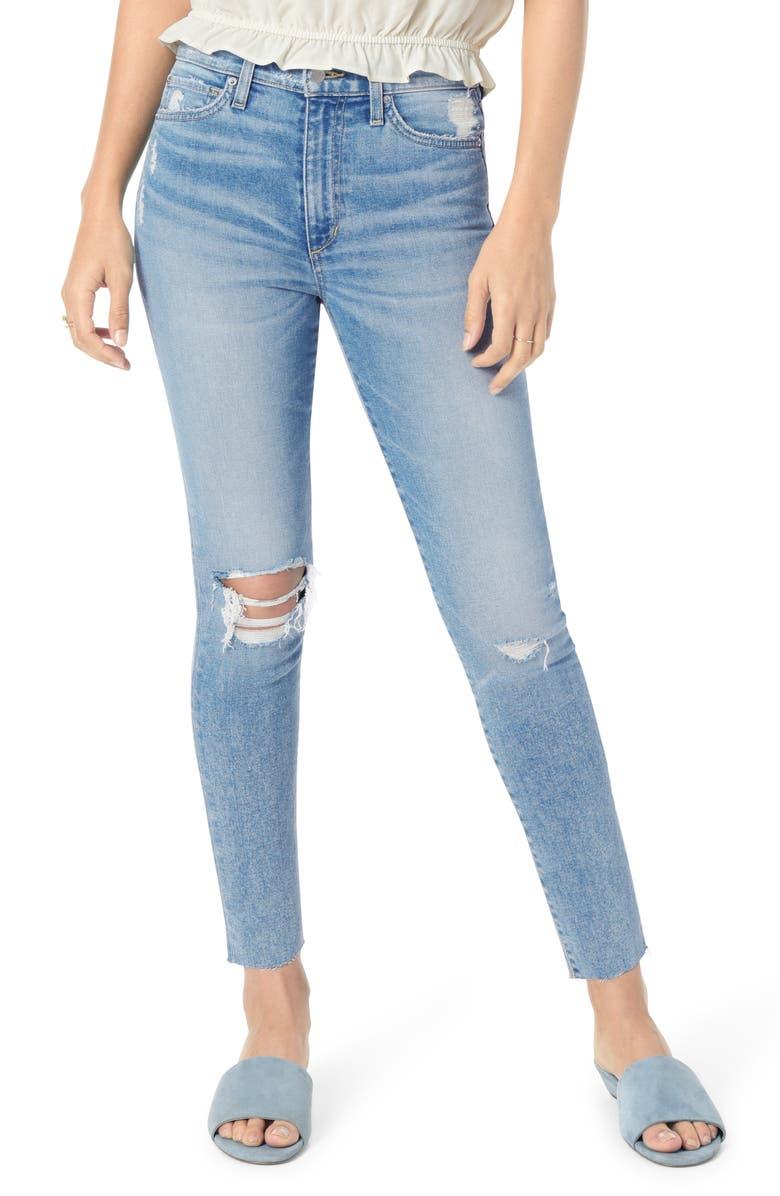 JOE'S Charlie Ripped High Waist Ankle Skinny Jeans, Main, color, 454