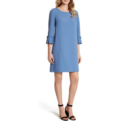 Tahari Pleat Cuff Stretch Crepe Shift Dress, Blue
