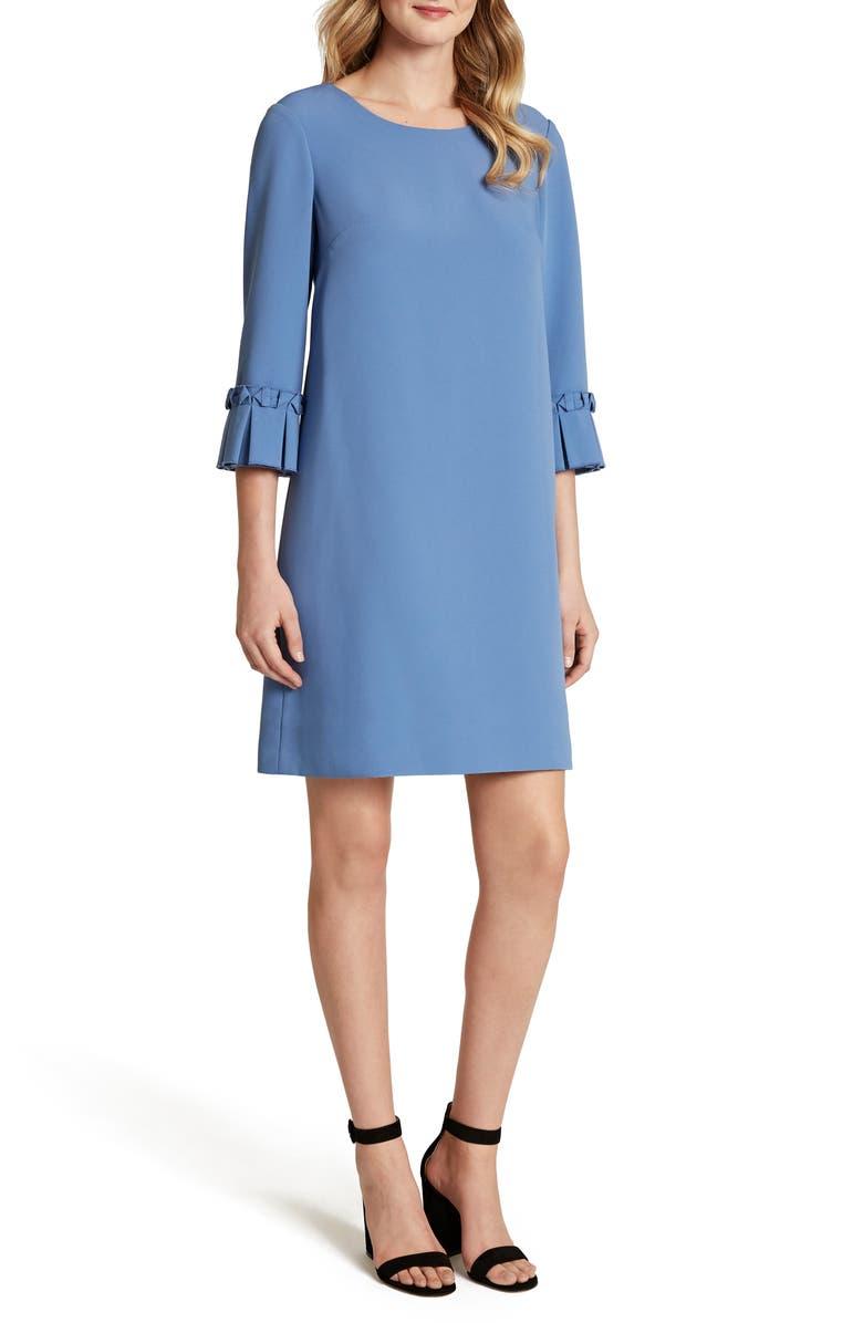 TAHARI Pleat Cuff Stretch Crepe Shift Dress, Main, color, DARK PERI