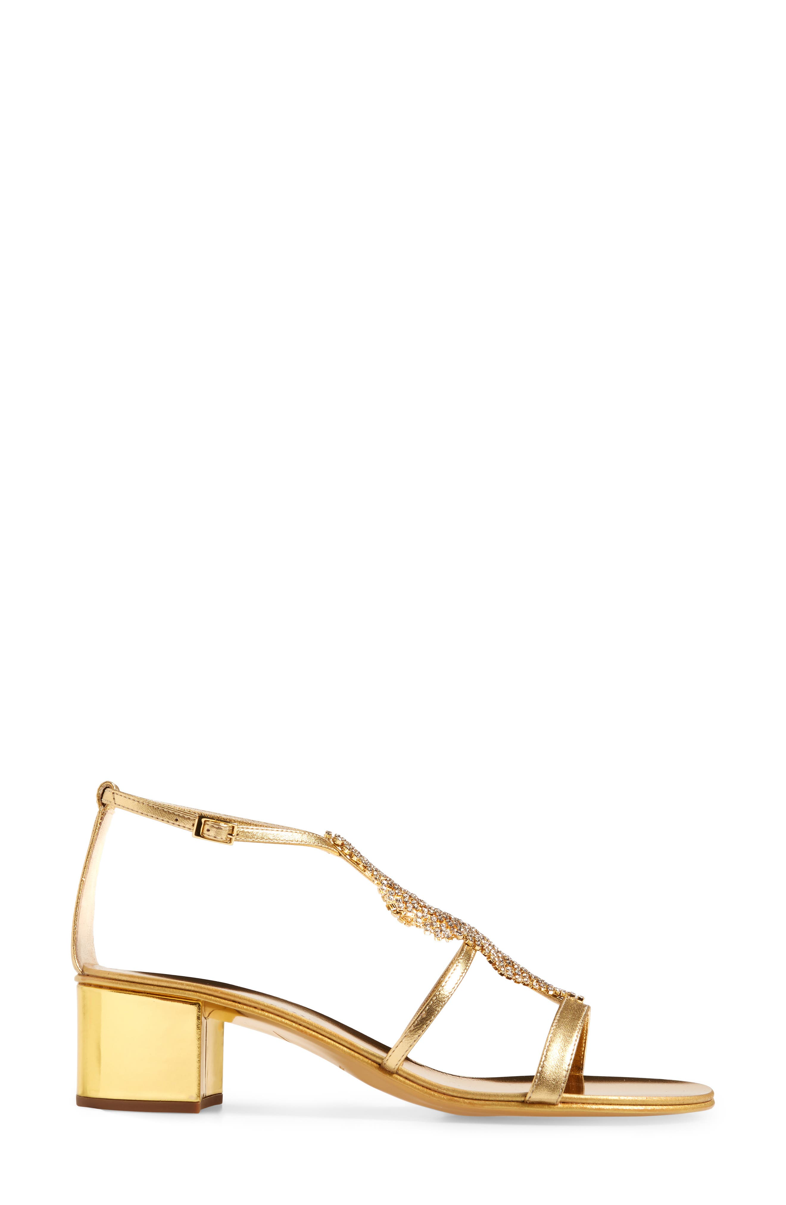 ,                             Crystal Embellished Metallic Sandal,                             Alternate thumbnail 3, color,                             GOLD