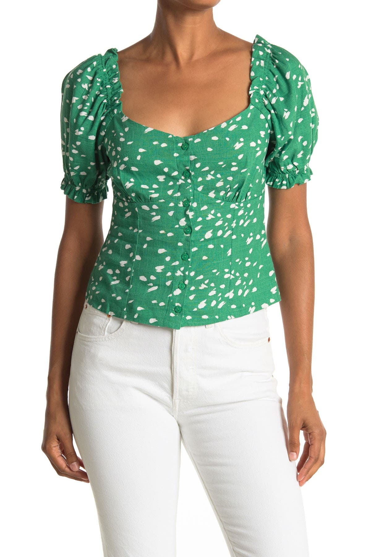 Image of Lush Printed Button Square Neck Top