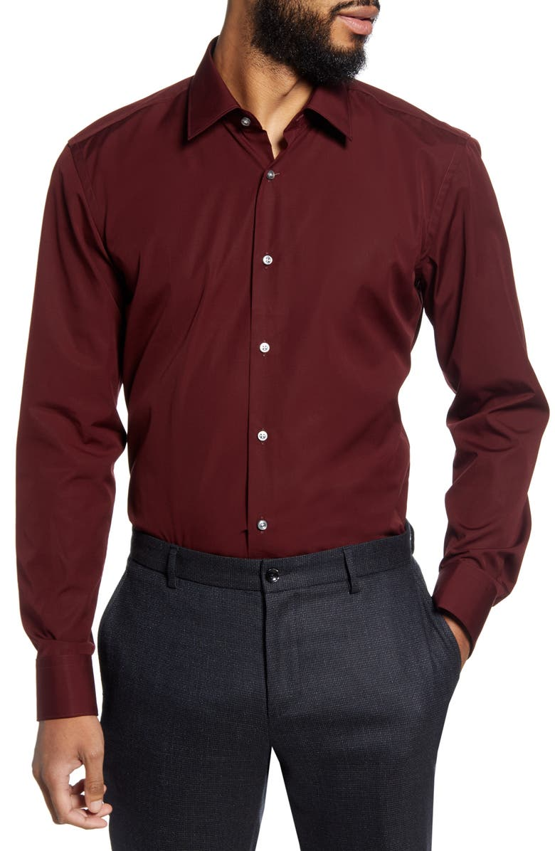 BOSS Jano Slim Fit Easy Iron Solid Dress Shirt, Main, color, BURGUNDY