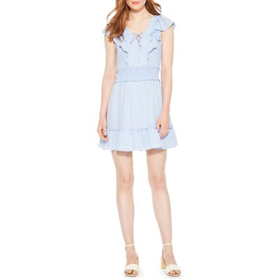 Parker Celeste Smocked Ruffle Minidress, Blue