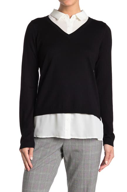 Image of Adrianna Papell V-Neck Twofer Sweater