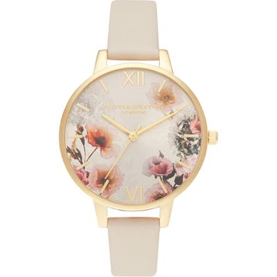 Olivia Burton Sunlight Florals Faux Leather Strap Watch, 30Mm