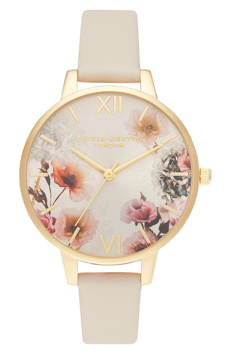 OLIVIA BURTON Sunlight Florals Faux Leather Strap Watch, 30mm, Main, color, CREAM/ 3D FLORAL/ GOLD