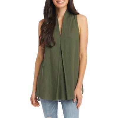 Karen Kane Front Pleat Sleeveless Top, Green