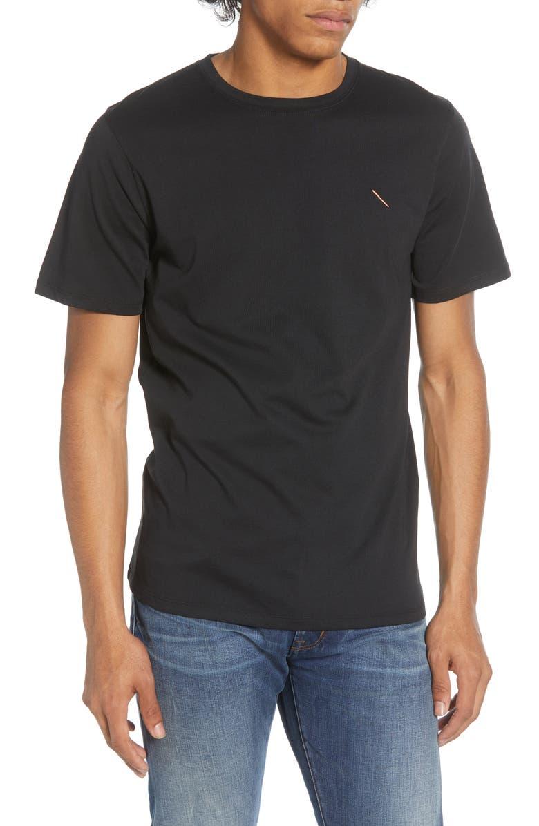 SATURDAYS NYC Embroidered Slash T-Shirt, Main, color, BLACK