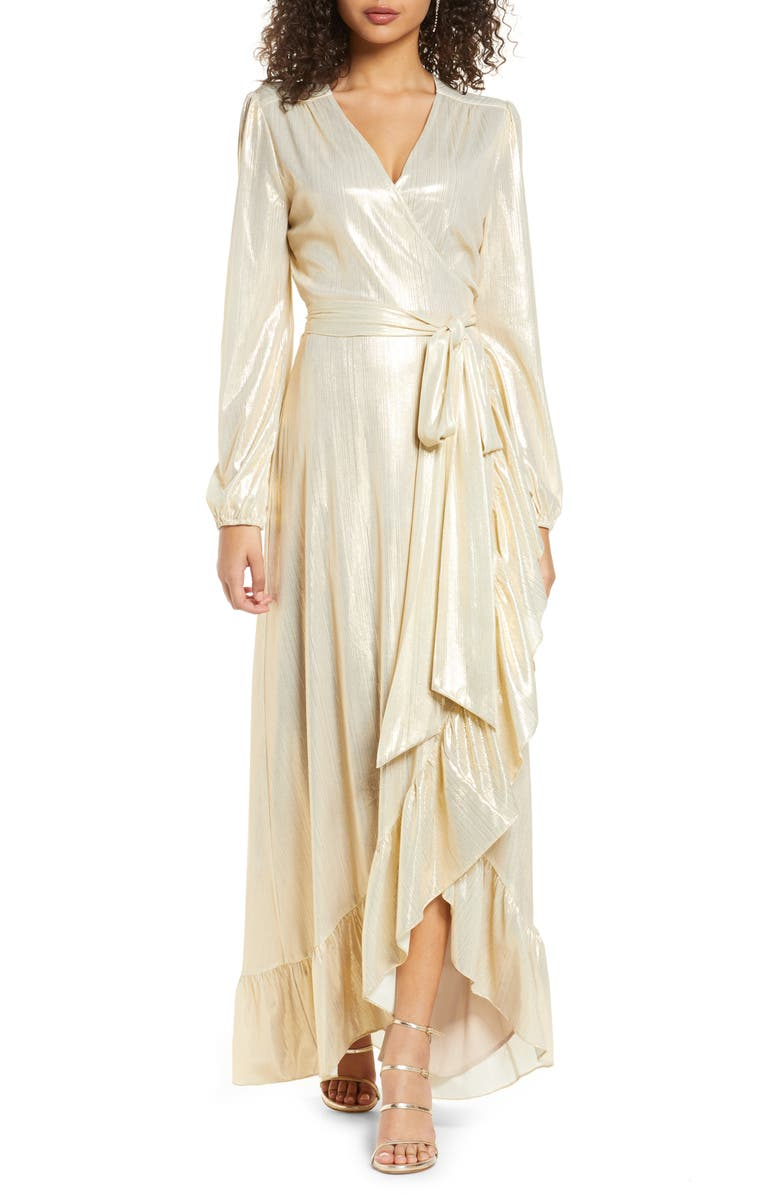 WAYF Meryl Long Sleeve Wrap High/Low Gown, Main, color, CHAMPAGNE
