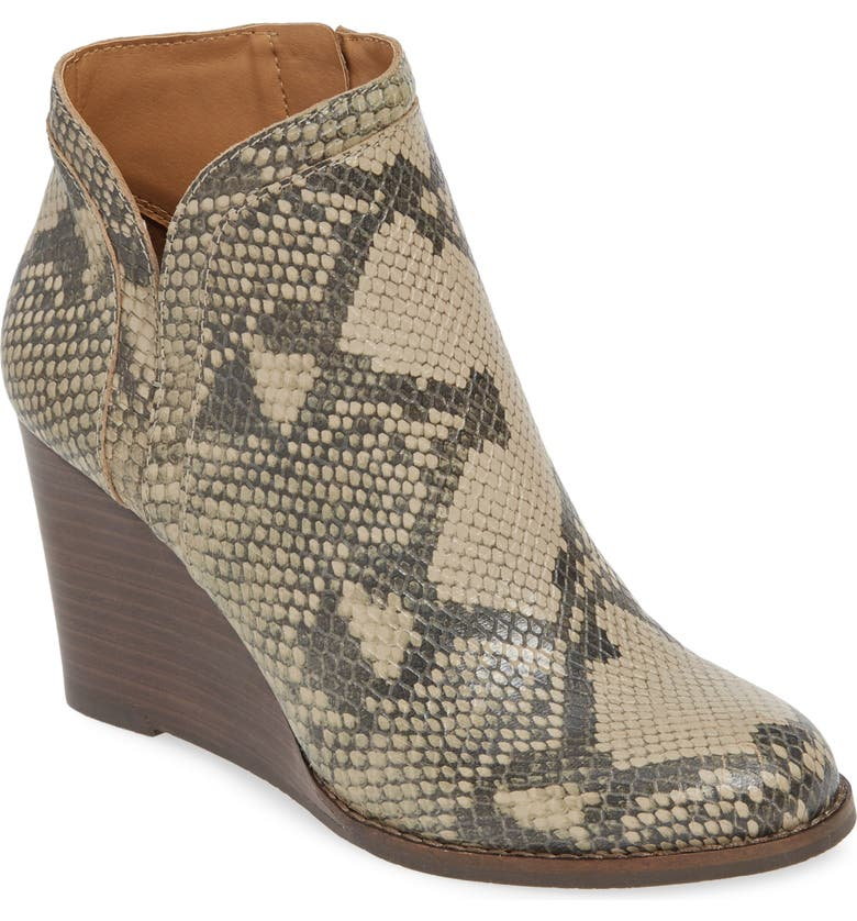 LUCKY BRAND Yimina Wedge Bootie, Main, color, CHINCHILLA SNAKE LEATHER