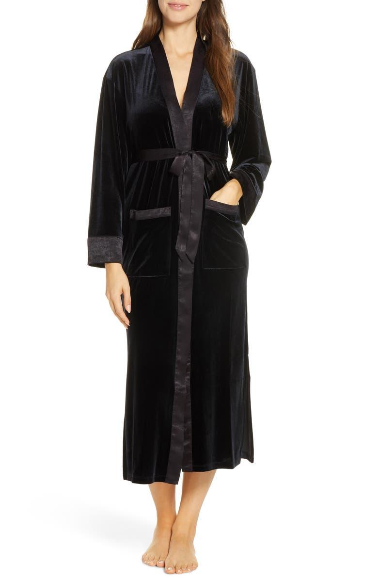 NORDSTROM Velour Robe, Main, color, BLACK