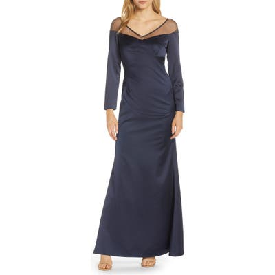 Plus Size Adrianna Papell Long Sleeve Illusion Off The Shoulder Satin Gown, Blue