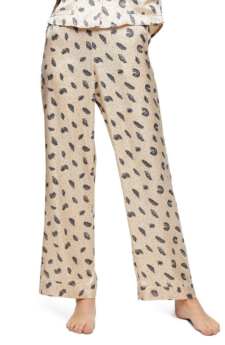 TOPSHOP Feather Print Satin Pajama Pants, Main, color, 900