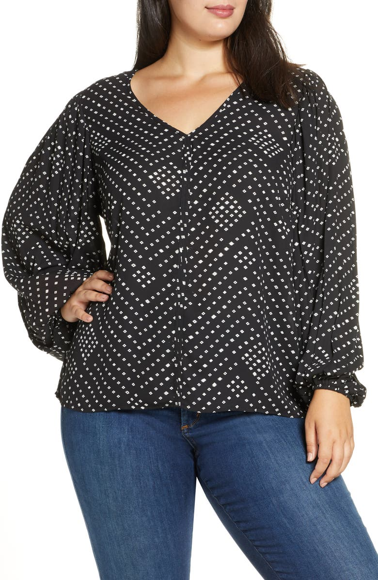 BOBEAU Kennie Print Pleated Sleeve Top, Main, color, 012