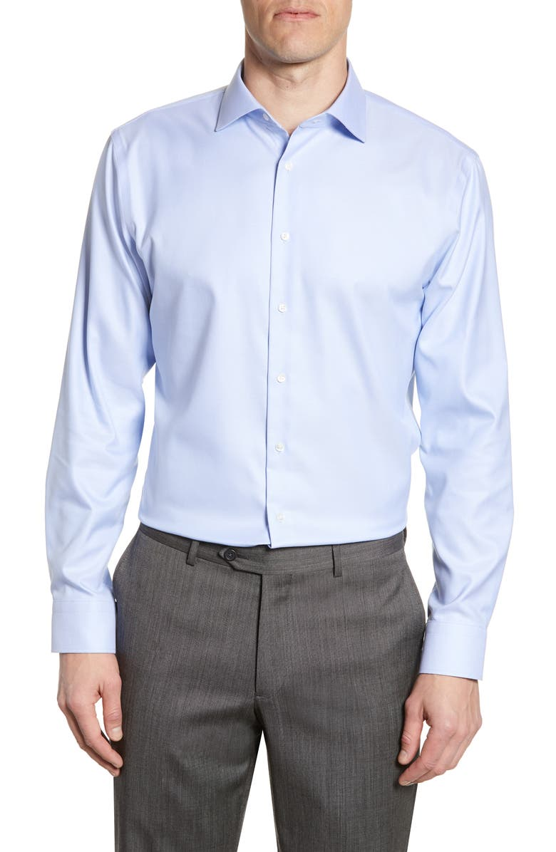 NORDSTROM MEN'S SHOP Trim Fit Non-Iron Solid Dress Shirt, Main, color, BLUE