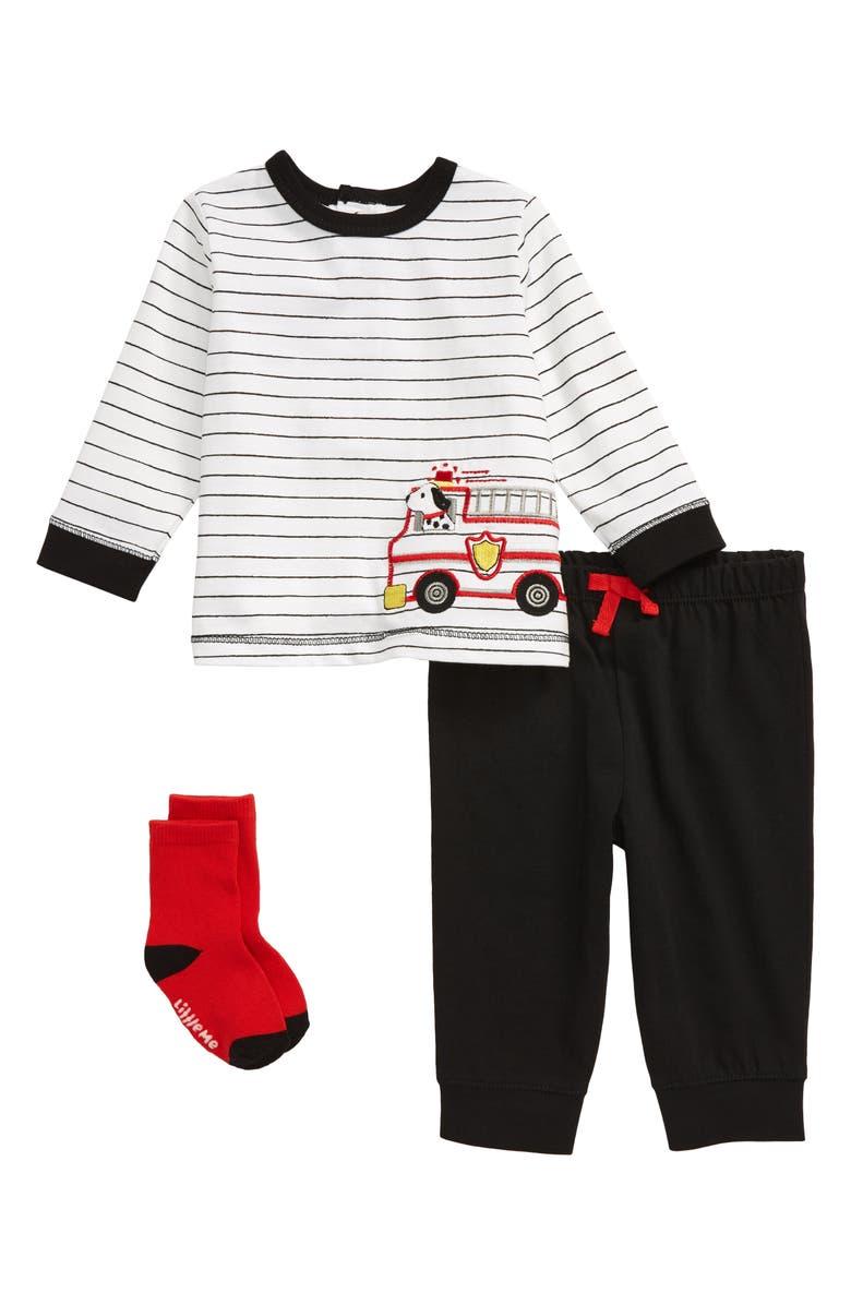 LITTLE ME Fire Truck T-Shirt, Joggers & Socks Set, Main, color, BLACK