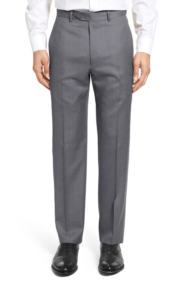 SANTORELLI Flat Front Twill Wool Dress Pants, Main, color, MEDIUM GREY