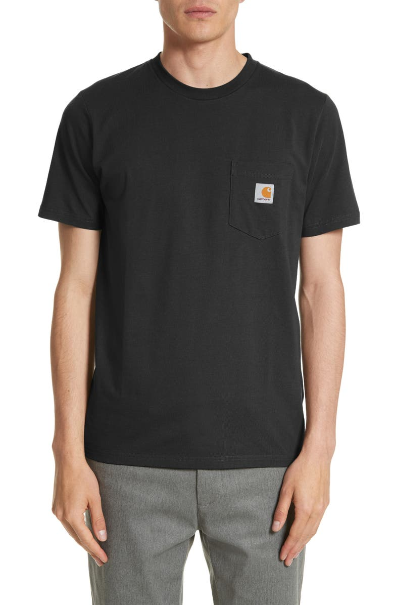 CARHARTT WORK IN PROGRESS Logo Pocket T-Shirt, Main, color, BLACK