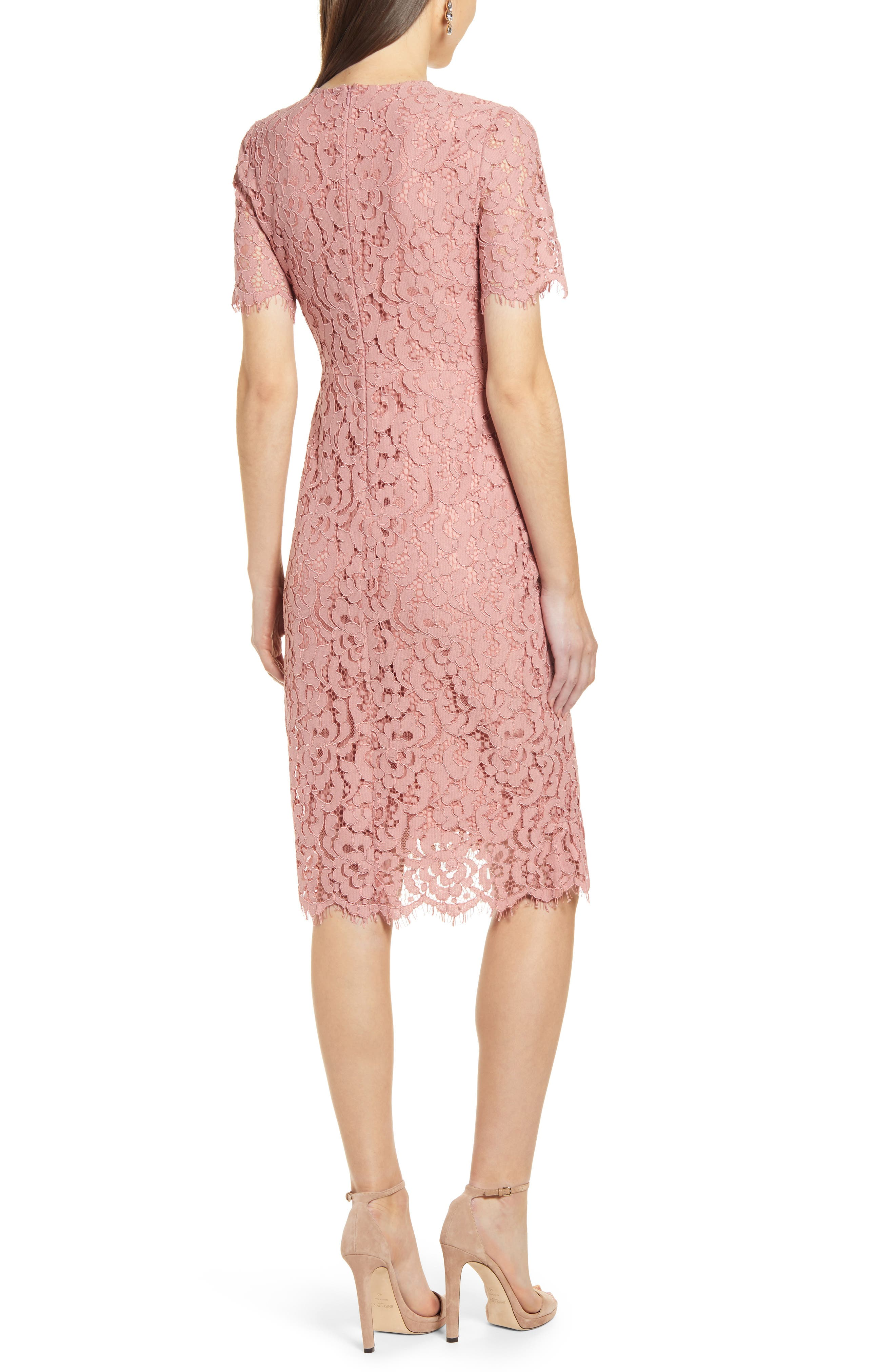 ,                             Ruffle Front Lace Sheath Dress,                             Alternate thumbnail 2, color,                             PINK BEAUTY