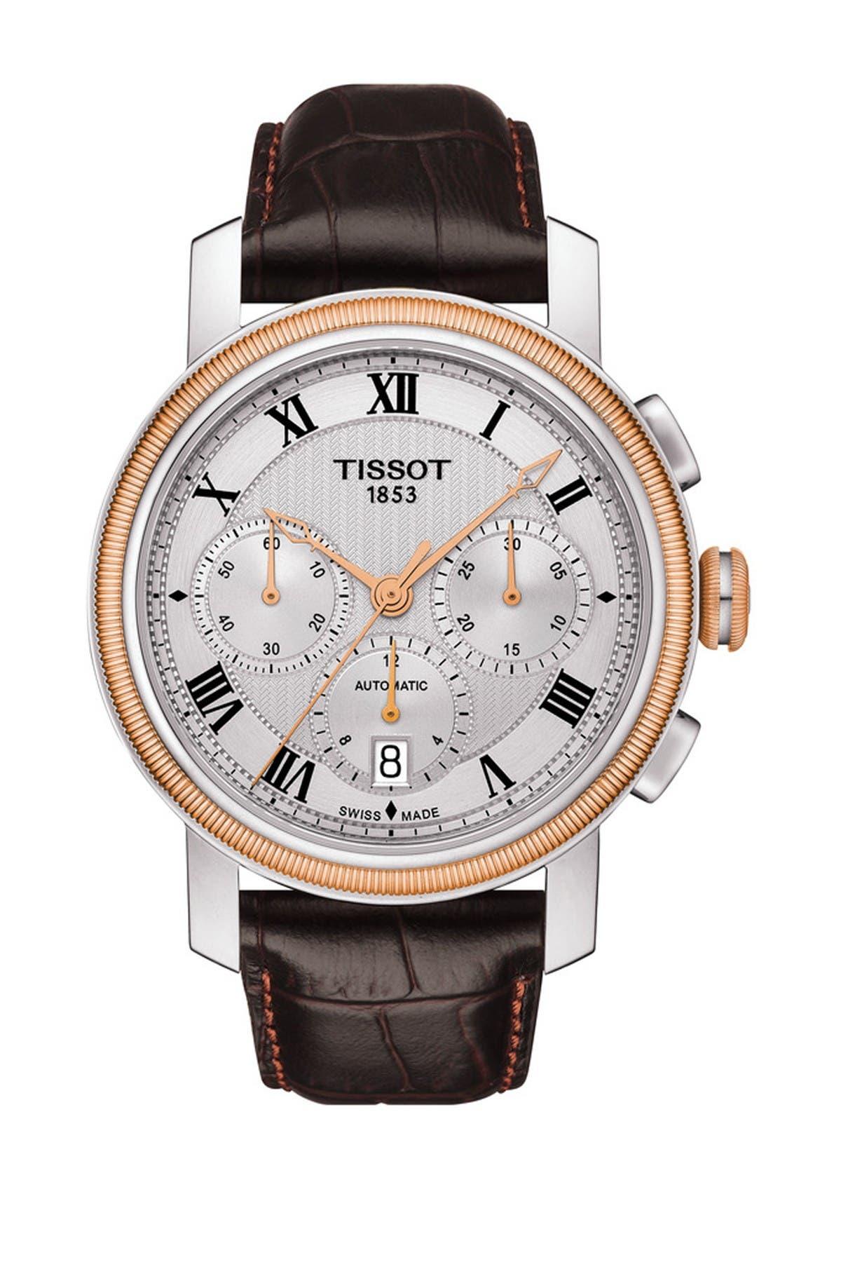 Image of Tissot Men's Bridgeport Automatic Chronograph Valjoux Swiss Leather Strap Watch, 42mm