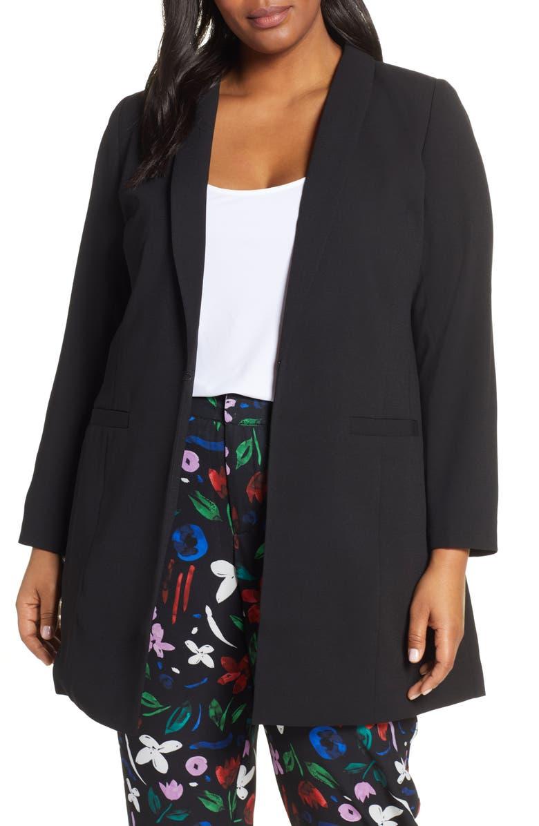ELOQUII Long Shawl Collar Blazer, Main, color, TOTALLY BLACK