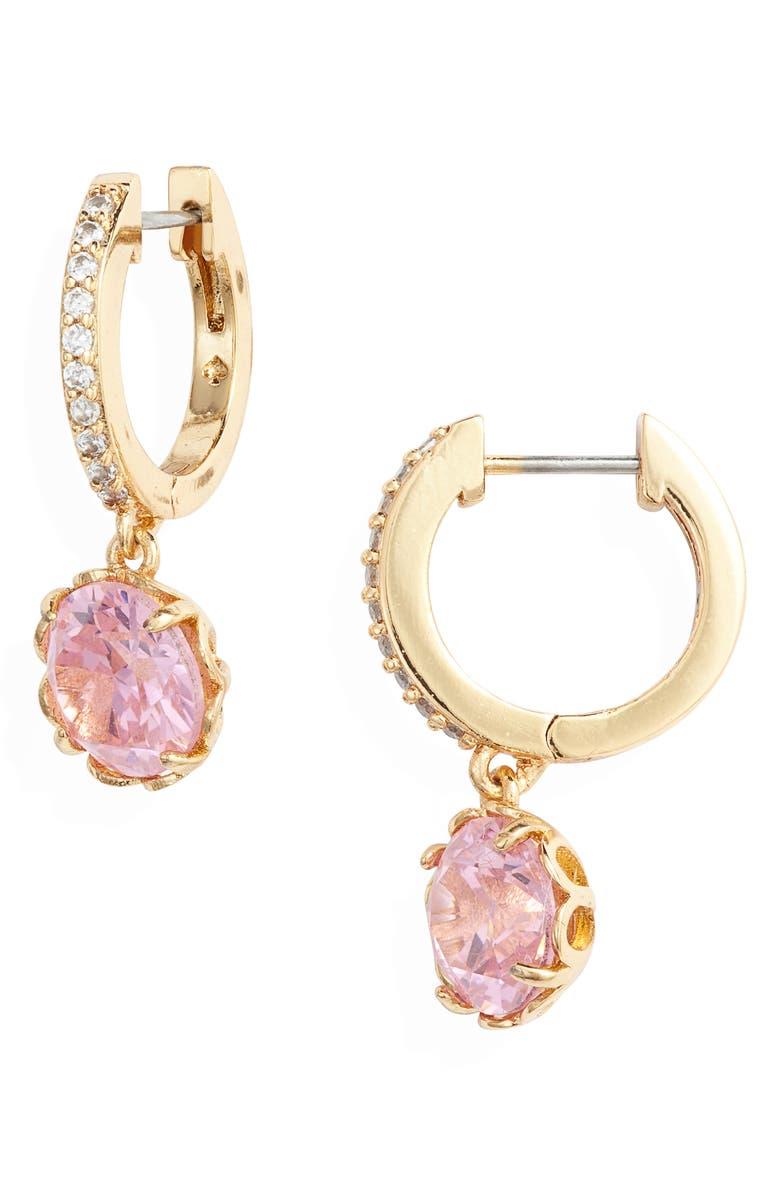 KATE SPADE NEW YORK that sparkle pavé huggie hoop earrings, Main, color, PINK