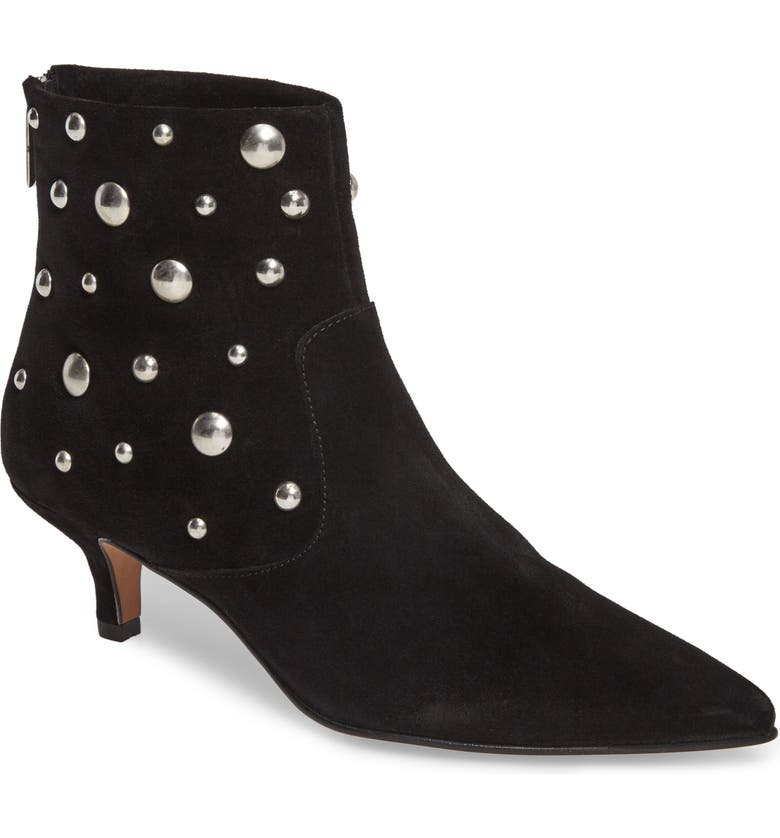 TOPSHOP Ascot Studded Pointy Toe Bootie, Main, color, 001