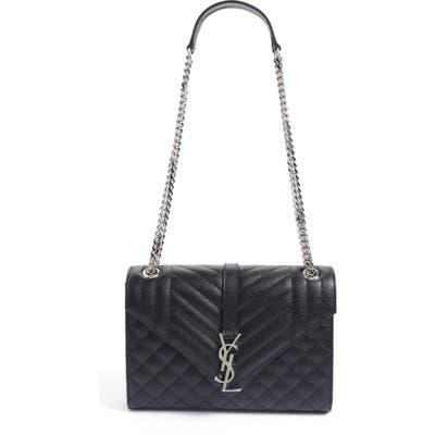 Saint Laurent Large Monogram Quilted Leather Shoulder Bag - Black
