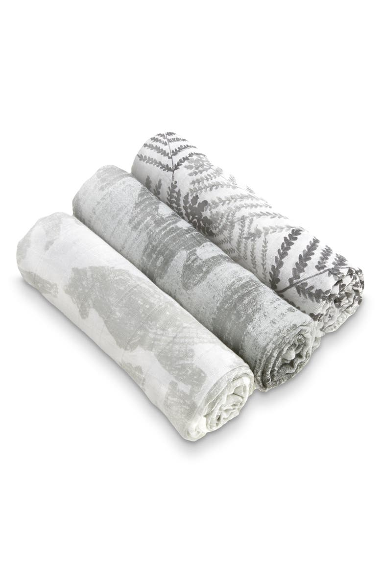 ADEN + ANAIS White Label Watercolor Garden 3-Pack Swaddling Cloths, Main, color, FORAGERS