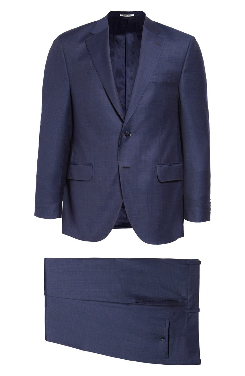 PETER MILLAR Classic Fit Solid Wool Suit, Main, color, BLUE