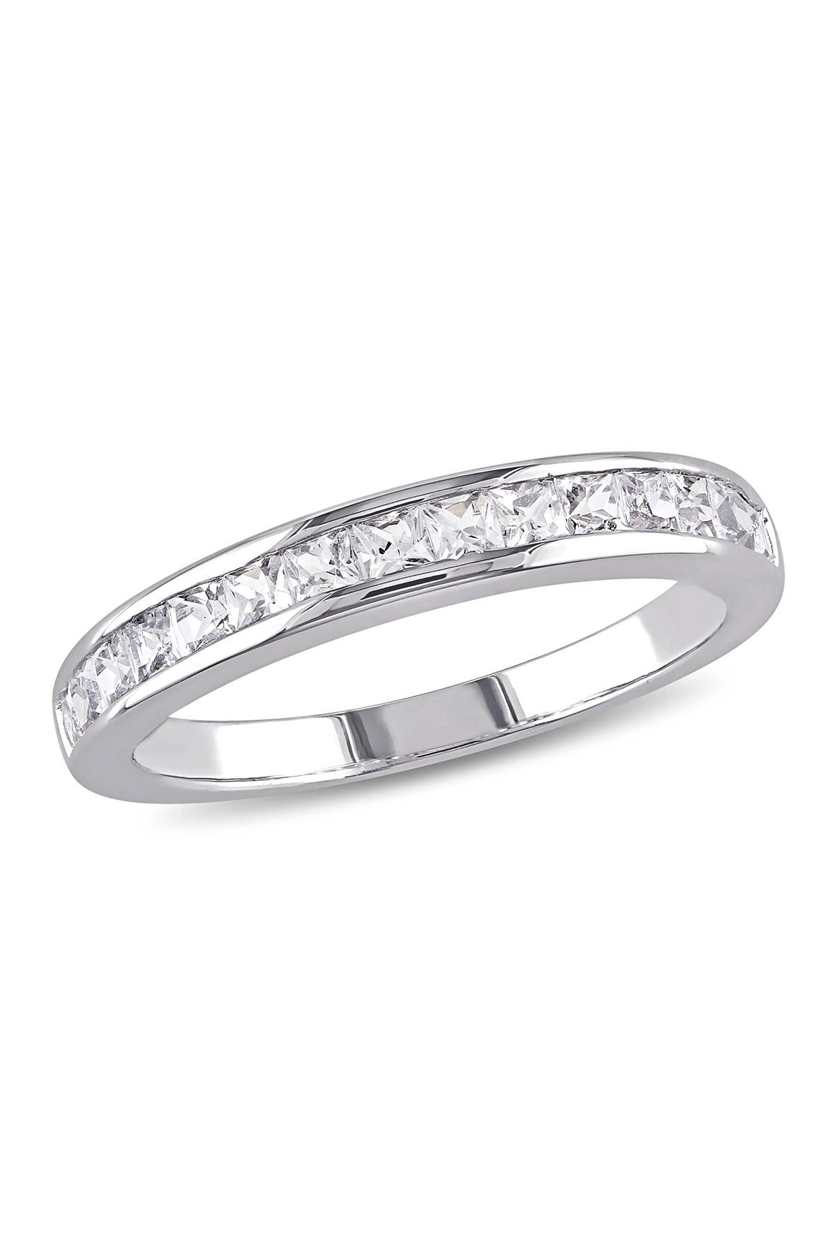 Image of Delmar Sterling Silver Created White Sapphire Eternity Ring