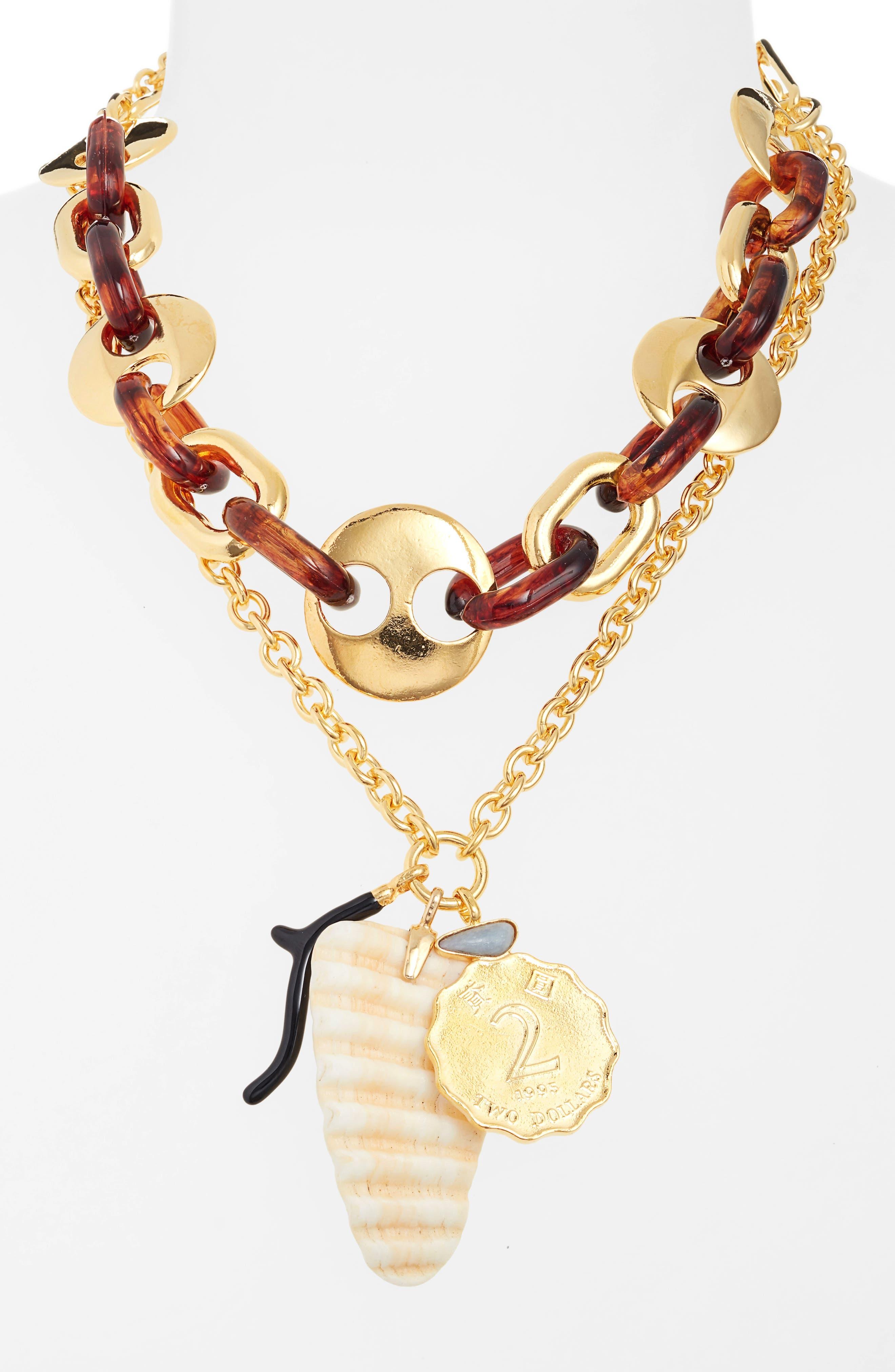 ,                             Elba Layered Charm Necklace,                             Alternate thumbnail 2, color,                             TOROISE/ GOLD